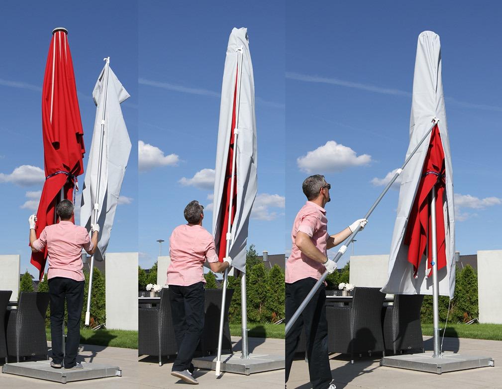 So ziehen Sie die Schutzhülle über einen großen Sonnenschirm
